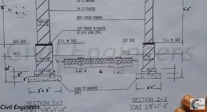 RCC Column Footing Drawings | Building Foundation Drawing