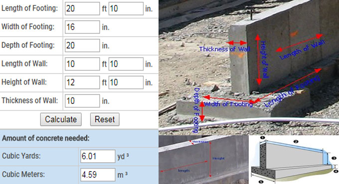 Concrete Calculator for Wall Section and Footing