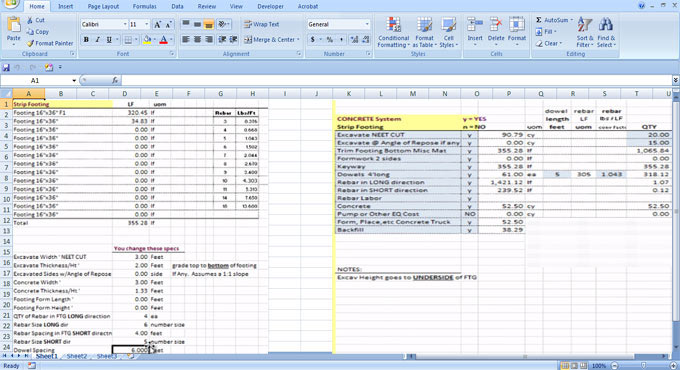 Download Construction Takeoff Sheets