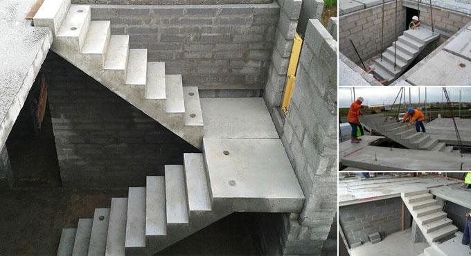 Construção de escadas de concreto pré-fabricado