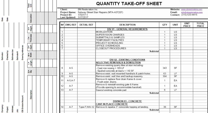 Download Quantity Takeoff Sheet
