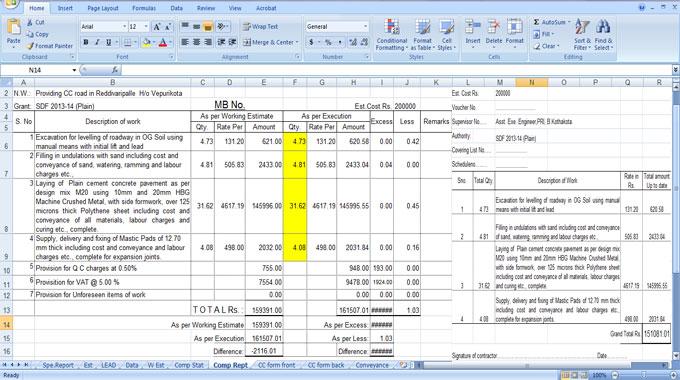 construction cost estimating sheets | civil engineering sheet