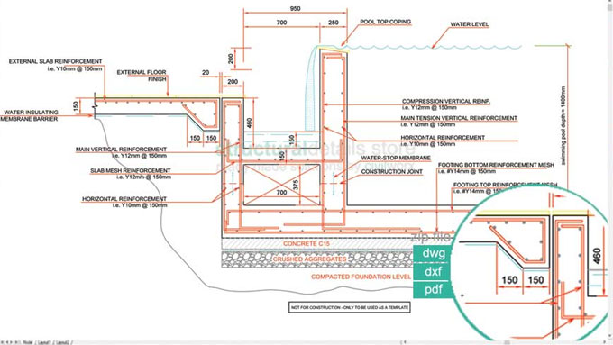 Download Sample Cad Drawing Of Infinity Type Swimming Pool Retaining Wall With Catch Detail